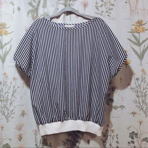 80's Vertical Striped Blouse